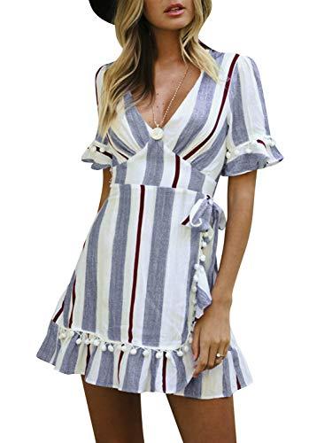 Simplee Women Sexy Deep V-Neck Short Sleeve Stripe Print Flare Short Mini Dress,Stripe Blue,8