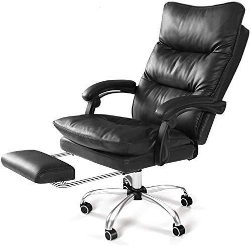 Elegante silla oficina, silla giratoria Silla de juego ergonómica | Silla de oficina con brazos | Silla trasera de cuero de PU | Silla de escritorio de oficina ajustable para el hogar con giro y rueda
