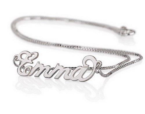 925 Silber Namenskette- Personalisiert mit Ihrem eigenen Namen (55 cm)