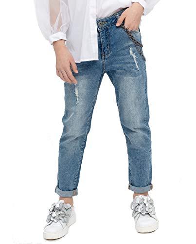 GULLIVER Jongens Broeken Meisjes Broeken Jeans Blauw Stretch Slim met Patch 9-15 Jaar
