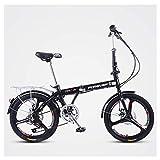 FANG Mujer Bicicleta Plegable, Adultos 20 Pulgadas 7 Velocidades Bicicleta de Montaña, Portátil Ultraligera Bicicleta de Ciudad,Black Three Spokes