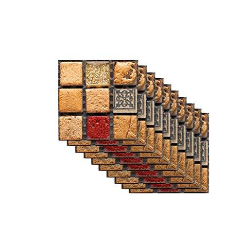 UKtrade - Pegatinas autoadhesivas para pared de azulejos en 3D, 100 x 100 mm, 10 unidades