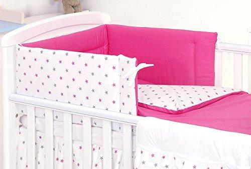 3 PIÈCES Ensemble literie pour lit d'enfant & lit bébé linge de lit 100% Coton (Étoiles Fuchsia Rose, 120x60cm)