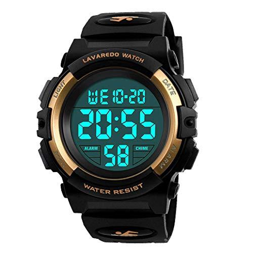 子供腕時計 男の子 デジタル腕時計 ボーイズスポーツウォッチ アウトドア多機能50m防水 アラート 日付曜日表示 デュアルタイム LED アナログ表示(ゴールド)
