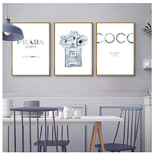 Parfumfles Poster Alcohol Inkt Art Prints Parfum Bloem Canvas Schilderij Muurdecoratie Muur Foto-40X60cmx3 zonder frame