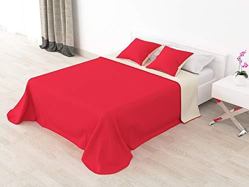 Cabetex Home - Colcha Bouti Reversible Bi-Color de Microfibra Transpirable con Cojines Mod. Colors (Rojo/Crema, Cama de 90 cm (180x255 cm))