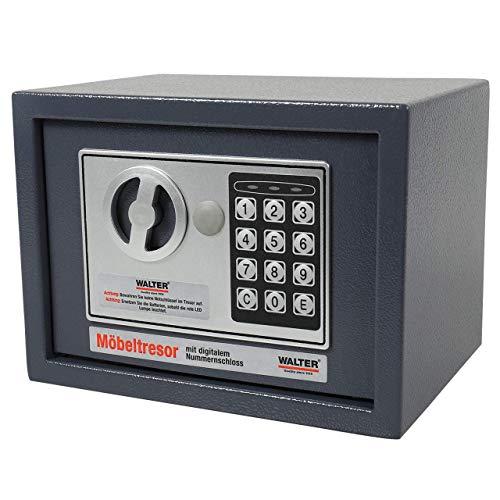 WALTER Möbeltresor 4L mit elektronischem Nummernschloss, äußerst robust, leicht zu verstecken, 3-8 Zahlen