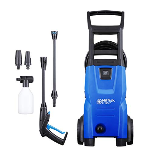 Nilfisk C 125 bar Pressure Washer with Induction Motor – Electric Power Washer for Household, Outdoor, Car Washing and Garden Tasks (Blue)