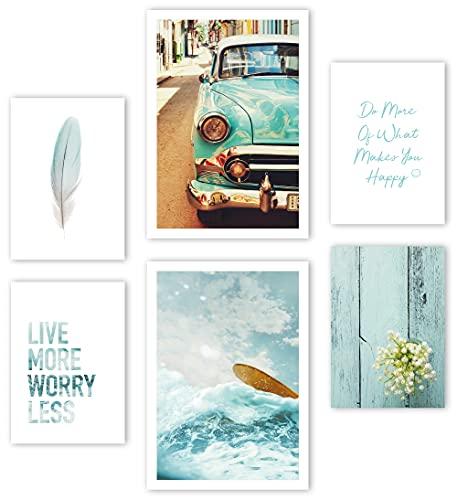 Mia Félice Moderne Wand-Bilder für das Wohnzimmer, Schlaf-Zimmer, Flur Tumblr Wand-Deko modern - Wand-Dekoration Wohnung » Better Life « Vintage Nostalgie Poster-Set Wand-Bild - ohne Bilderrahmen