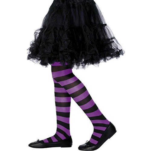 NET TOYS Kinderstrumpfhose Strumpfhose gestreift lila-schwarz Tights Geringelt Feinstrumpfhose bunt Kinder Leggings Streifenlook Kinderkostüm Accessoire