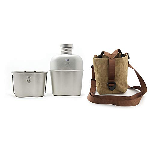Keith Titan Army Military Canteen Große Kapazität Wasserkocher Tragbare Dual-Use Wasserflasche mit Camouflage-Taschen