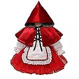 Disfraz De Caperucita Roja, Vestido De Princesa para Niños, Cosplay, Carnaval, Fiesta De Cumpleaños De Navidad, Disfraz De Mucama De Halloween,Rojo,100