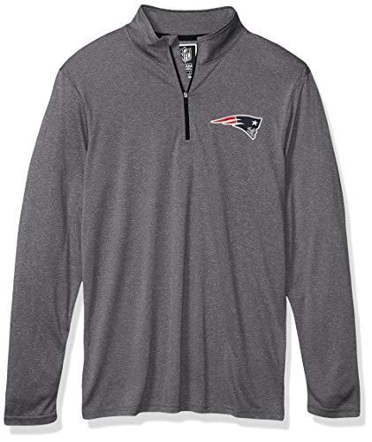 Ultra Game Men's NFL Moisture Wicking Soft Quarter Zip Long Sleeve Tee Shirt, New England Patriots, Heather Gray, Large
