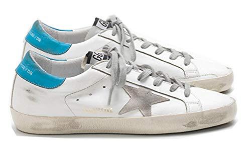 VCEGGDB Damen Sneaker Sneaker rutschfeste Leder Schnürschuhe Freizeitschuhe Slide, - seeblau - Größe: 42 EU