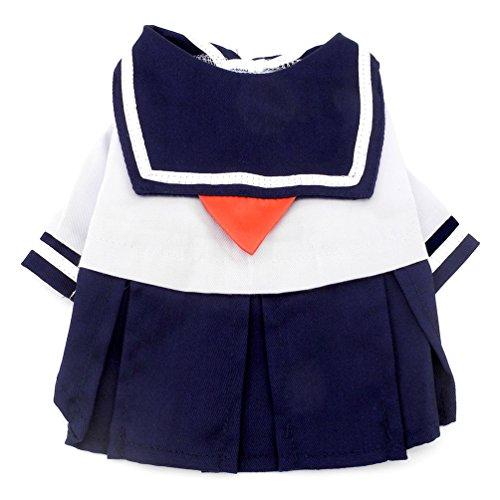 smalllee _ LUCKY _ Store pour petit chien vêtements pour filles Bleu Marine Captain Costume marin pour chien robes Fresh style étudiant Uniforme