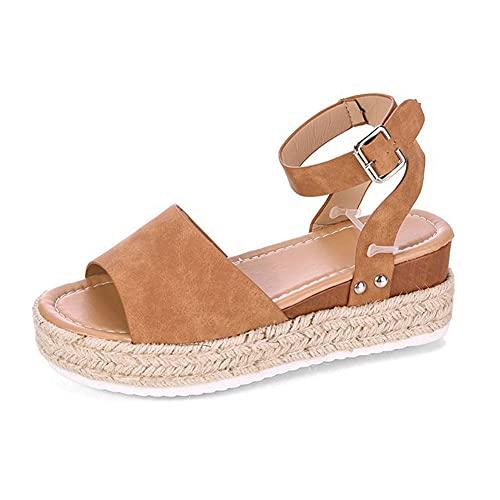MUFENA Sandalias de plataforma para mujer de piel sintética, sandalias de cuña de verano para mujer, sandalias de tacón alto, color Marrón, talla 35 1/3 EU