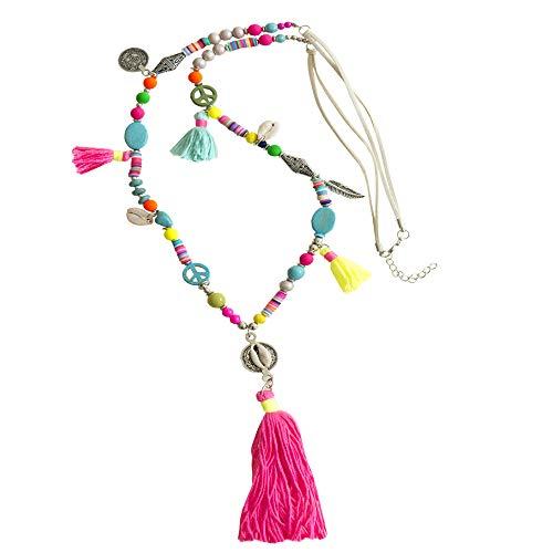 Kiss Me! Topmodel Ibiza Indianer Kette Halskette Handgefertigt Handmade Bunte Quaste Glücksbringer Peace Muscheln Extralang Länge 90cm + 6cm