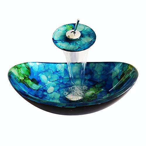 neu.haus 47x31cm ovale voile /® Lavabo du verre tremp/é