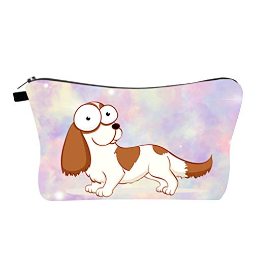 Minkissy Cosmetic Bag for Women, Printed Cartoon Dog Pattern Makeup Pouch Waterproof Travel Toiletry Bag Coin Purse Holder Wash Bag for Trip Home