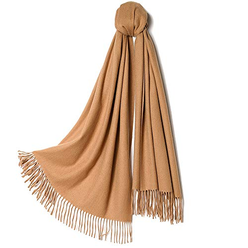 Libobo-001 Autumn And Winter Scarf Women Long Shawl Imitation Cashmere Scarf Female Dual-Use Solid Color Couple Scarf New Year Christmas Birthday Gift,Camel