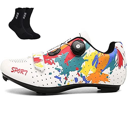 Qisheng Trade Zapatillas de Ciclismo para Bicicleta de Carretera para Hombre con Cordones de Hebilla Giratoria, Nylon/Caucho Transpirable, para Road Bike Mujer Zapatos,White-37