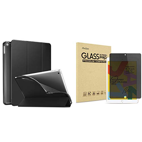 ProCase iPad 10.2 7th Generation 2019 Slim Flexible Soft TPU Case Bundle with iPad 10.2 7th Gen 2019 Privacy Screen Protector