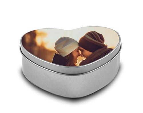 Cajas metálica Personalizada con Fotos y Texto - Forma corazón