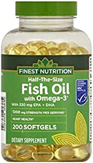 Finest Nutrition Half-The-Size Fish Oil 1200 mg Softgels 200.0 ea x 2 Pack