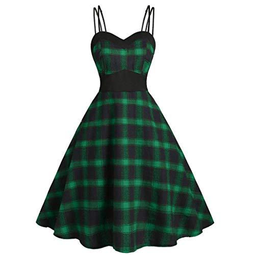 Lazzboy Kleid V-Ausschnitt Plus Size Plaid Print Strap Knielanges Damen 1950er Vintage Retro Rockabilly Kleider Petticoat Faltenrock Cocktail Festliche(Grün,3XL)
