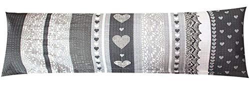 Seersucker Seitenschläferkissen Bezug 40x145cm - Love Liebe Herzen Anthrazit - Öko-Tex 100% Baumwolle Stillkissenbezug (SB-386-2)