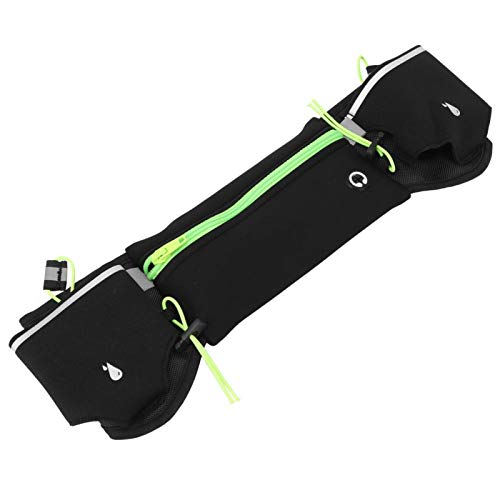 Qqmora Riñonera Antideslizante de Gran Capacidad para Correr Diseño de múltiples Bolsillos con la Tira Reflectante en la Bolsa Riñonera para teléfono, para Correr(Green)
