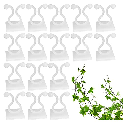 Cosswe 100 Stück Pflanzenclips, Selbstklebend Pflanzen Kletter Wandbefestigungs Clips Verstellbar Wandbefestigungsclips für Rebe Weinpflanzen