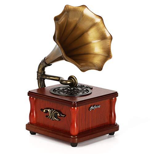 Altoparlanti Bluetooth retrò portatili, lettori musicali USB a forma di mini fonografi, decorazioni per la casa e l'intrattenimento, feste e regali per feste.