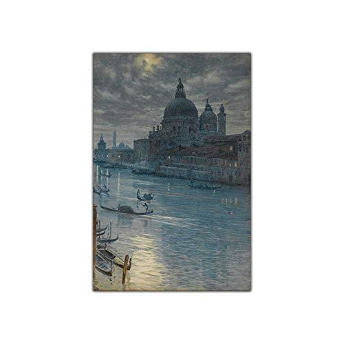 Edward John Poynter 'Una escena a la luz de la luna, Venecia' Pintura famosa Impresiones en lienzo Obra de arte Imagen Arte de la pared para la decoración del hogar 30x45cm Sin marco