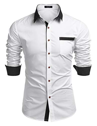 COOFANDY Herren Hemd Regular fit langarmhemd männer Kontrast Kragen Hemden Basic Business Sommershirt