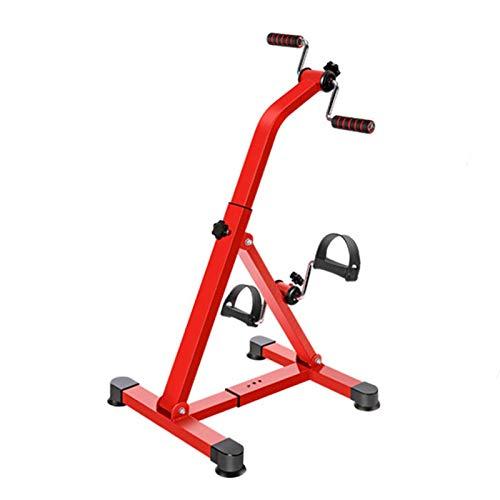ZXFF Pedal Ejercitiser Pierna Portátil Y Entrenamiento del Brazo, Ahorro De Espacio Bicicleta Estacionaria Duradera Estructura De Base Antideslizante (Color : Red)