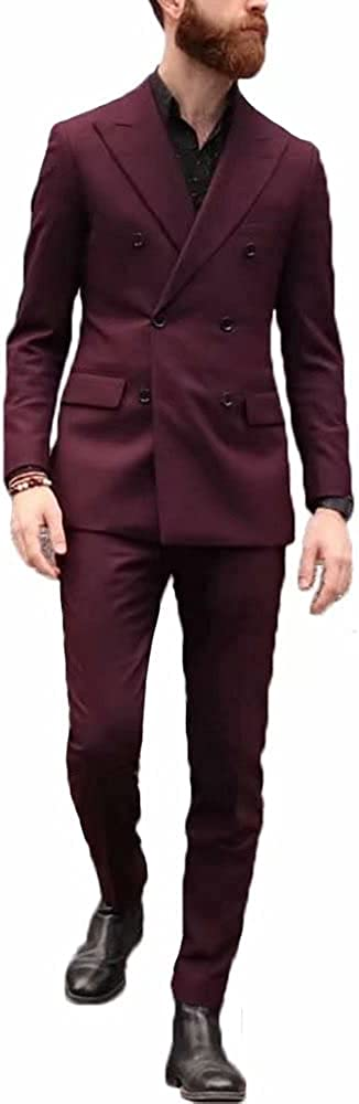 YiMinpwp Men's 2 Pieces Double Breasted Suits Peaked Lapel Wedding Tuxedos Suit Jacket&Pant