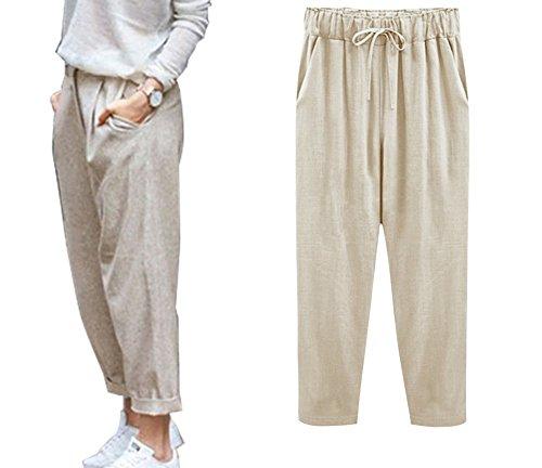 Minetom Pantacourt Femme Été Causal Coton Lin Ample Pantalon Fluide Confortable 7/8 Longueur Léger Cordon Élastique Sport Yoga Pants A Kaki EU XX-Large