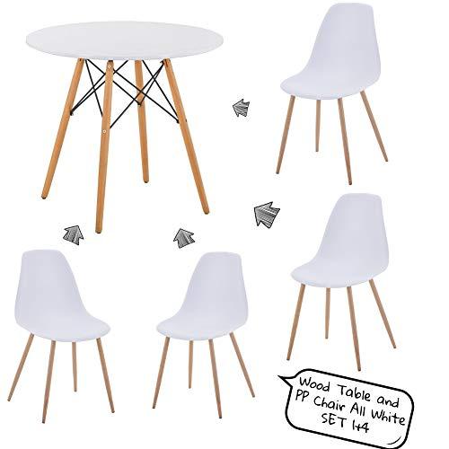 Juego de mesa y sillas de comedor moderno con diseno Eiffel redondo y 4 sillas de metal de plastico PP para sala de estar, comedor, oficina
