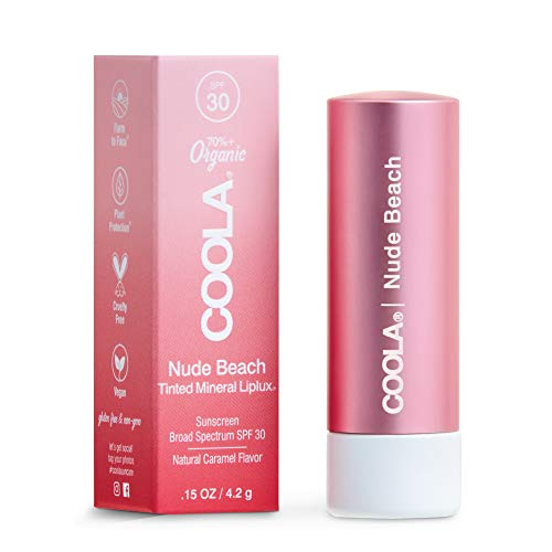 COOLA Organic Mineral Sunscreen Tinted Lip Balm, Lip Care for Daily Protection, Broad Spectrum SPF 30, Reef Safe, Nude Beach, 0.15 Oz