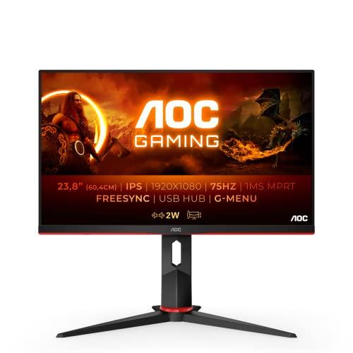 "AOC 24G2U5/BK Monitor - Pantalla para PC de 24"" Full HD e-Sports (IPS, 1ms, AMD FreeSync, 75 Hz, Sin Marco, Ajustable en Altura y FlickerFree)"