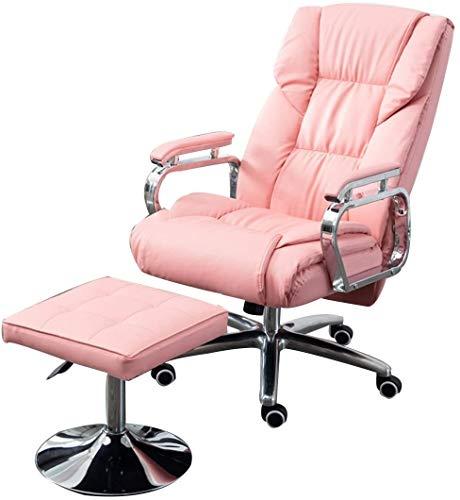 BRFDC Silla De Escritorio Racing Swivel Office Computer Silla PU Cuero Sillón Sillón Sofá con una Silla de Escritorio extendida y reclinable (Color : Pink)