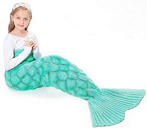 JOLY FANG Meerjungfrau Decke, Handgemacht Gestrickt Meerjungfrau Strickmuster Schlafsack, alle Jahreszeiten Schlafsack für Kinder, Weihnachts Geburtstagsgeschenk Für Mädchen (Grün)