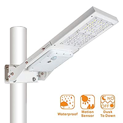 30W Outdoor LED Solar Street Light?IP65 Waterproof White 6000K Solar Security Light Motion Sensor Dusk to Dawn with Adjustable Mounting Bracket Suitable for Wireless Installation of Poles and Walls.