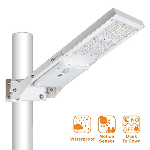 60W Outdoor LED Solar Street Light,IP65 Waterproof White 6000K Solar Security Light Motion Sensor Dusk to Dawn with Adjustable Mounting Bracket Suitable for Wireless Installation of Poles and Walls.
