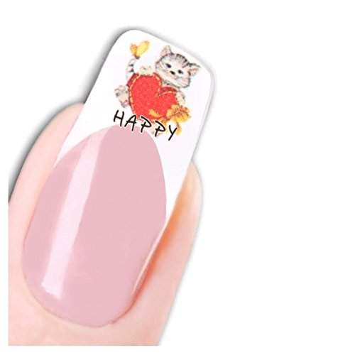 Just Fox – Stickers pour ongles Nail art autocollants chat Cat Fleurs Papillon Water Decal