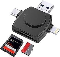 メモリカードリーダー 4in1 SD カードリーダー USB3.0 データ移行 USB-A/TYPE-C/Lightning/Micro-USB/iPhone Android PC対応