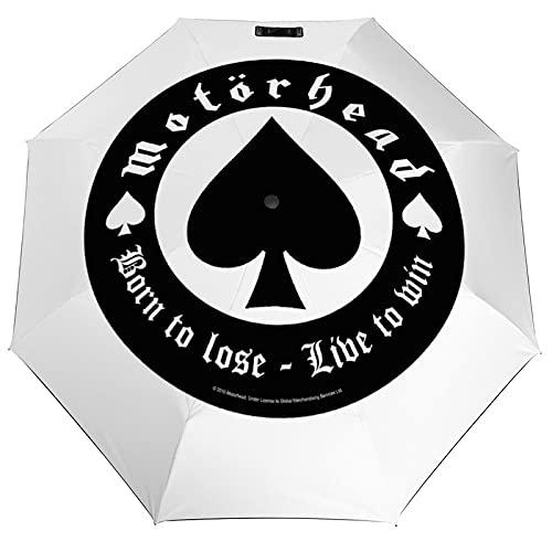 MOTORHEAD モーターヘッド Born To Lose 折り畳み傘 耐強風 超撥水 紫外線カット 自動開閉 日傘 遮光 晴雨兼用 軽量 頑丈な ビッグサイズ メンズ レデ