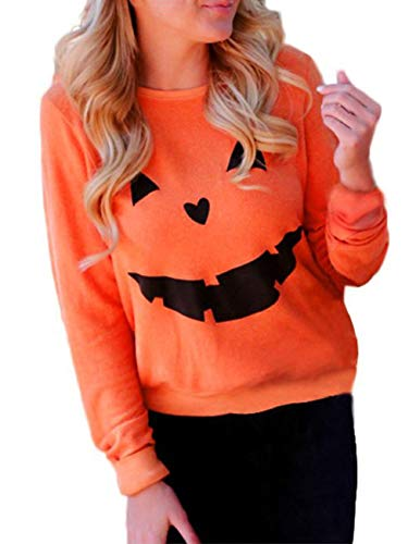 Women's Halloween Pumpkin Face Long Sleeve Sweatshirts Casual Pullover Tops Size X-Large (Orange)