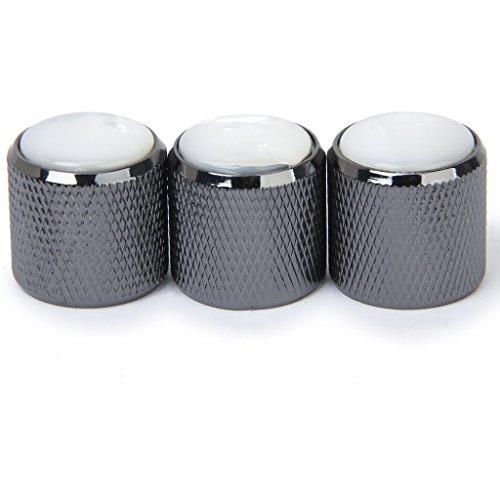 SODIAL (R) 3 PC volumen del sonido perilla de control de tono de mando para guitarra electrica (Blanco y Negro)